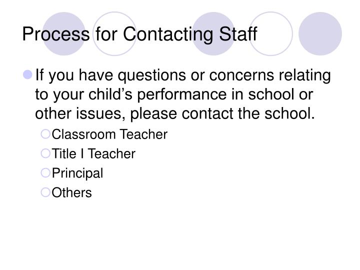 Process for Contacting Staff