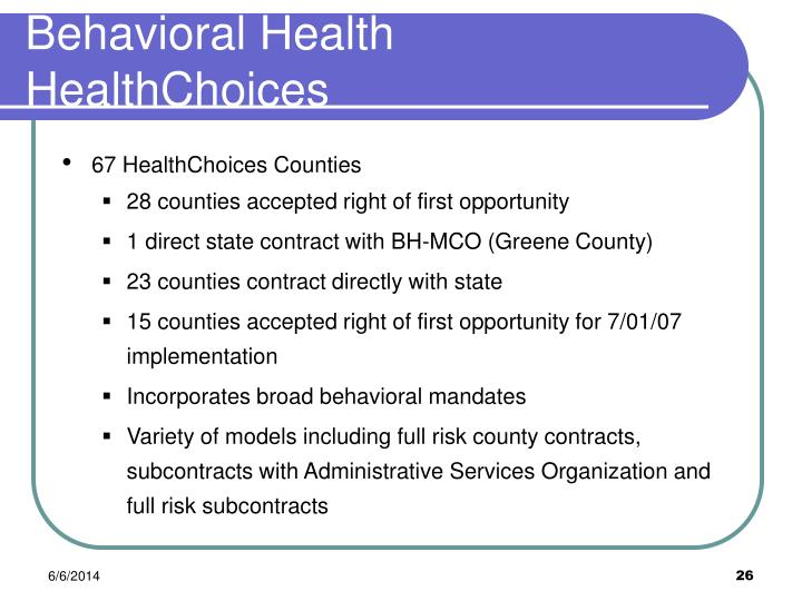 Behavioral Health HealthChoices