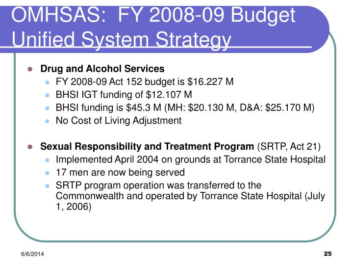 OMHSAS:  FY 2008-09 Budget Unified System Strategy