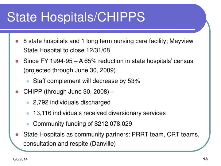 State Hospitals/CHIPPS