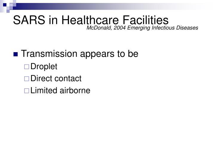 SARS in Healthcare Facilities
