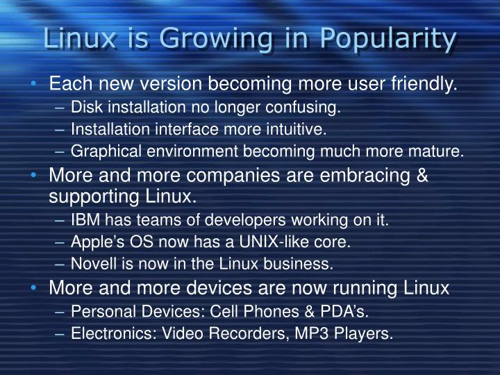 Linux is growing in popularity