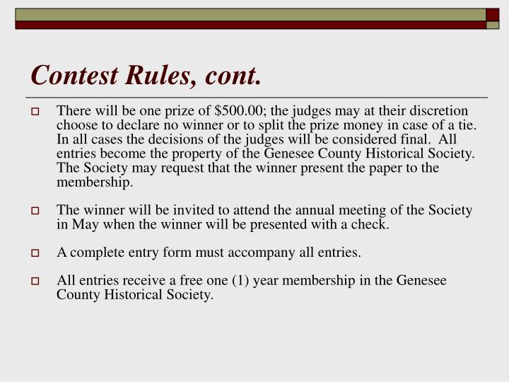 Contest Rules, cont.