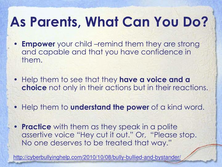 As Parents, What Can You Do?