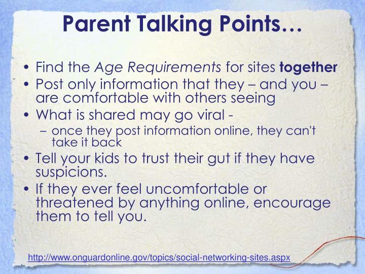 Parent Talking Points…