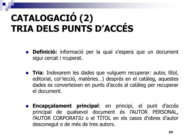 CATALOGACIÓ (2)