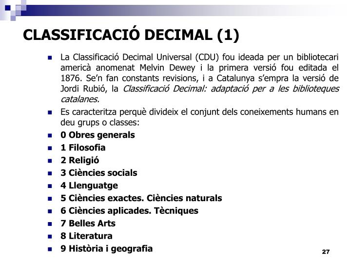 CLASSIFICACIÓ DECIMAL (1)