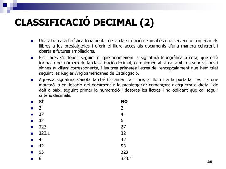 CLASSIFICACIÓ DECIMAL (2)