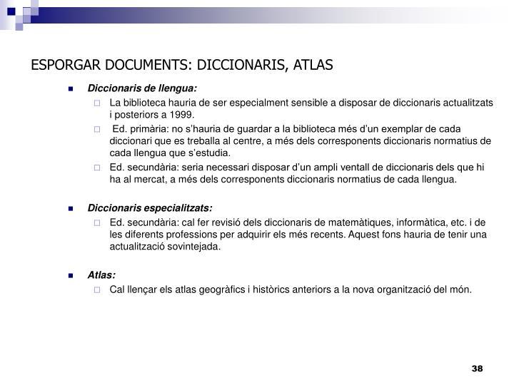 ESPORGAR DOCUMENTS: DICCIONARIS, ATLAS