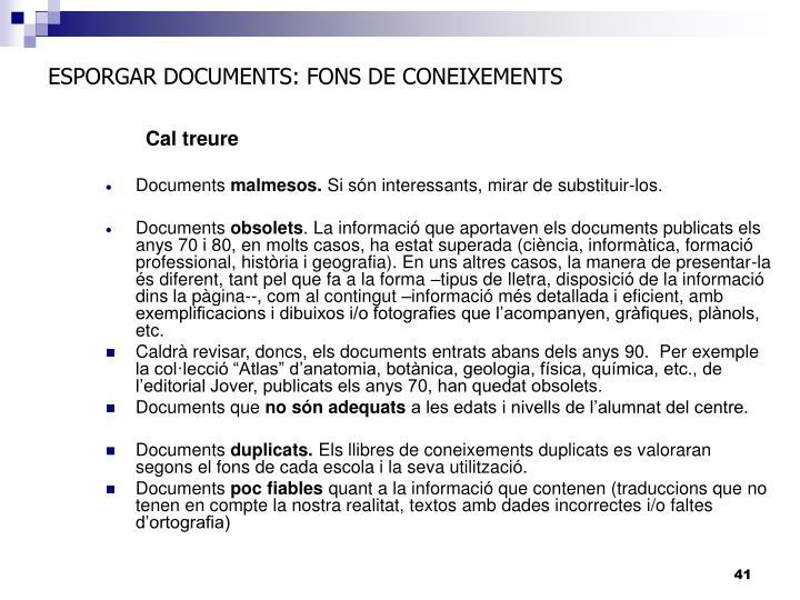 ESPORGAR DOCUMENTS: FONS DE CONEIXEMENTS