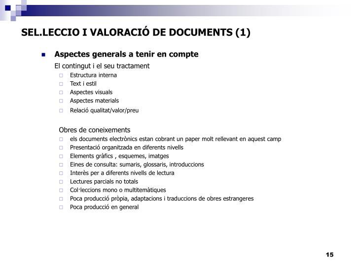 SEL.LECCIO I VALORACIÓ DE DOCUMENTS (1)