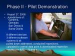phase ii pilot demonstration