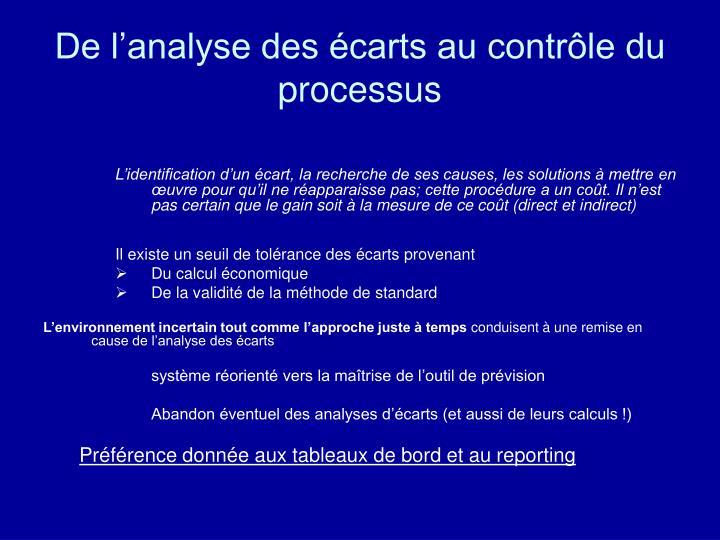 De l'analyse des écarts au contrôle du processus