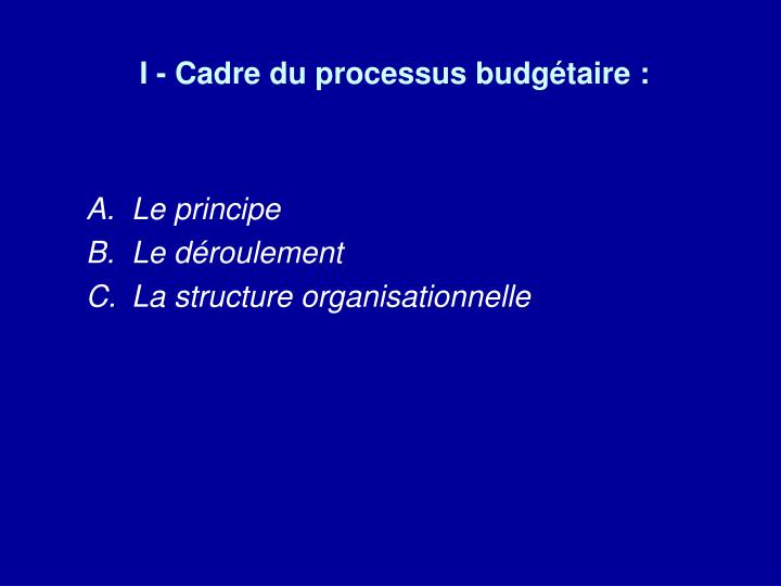 I - Cadre du processus budgétaire :