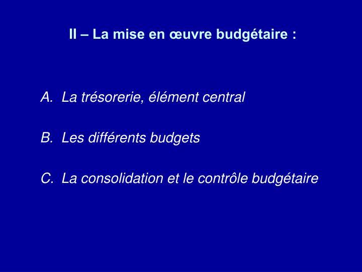 II – La mise en œuvre budgétaire :