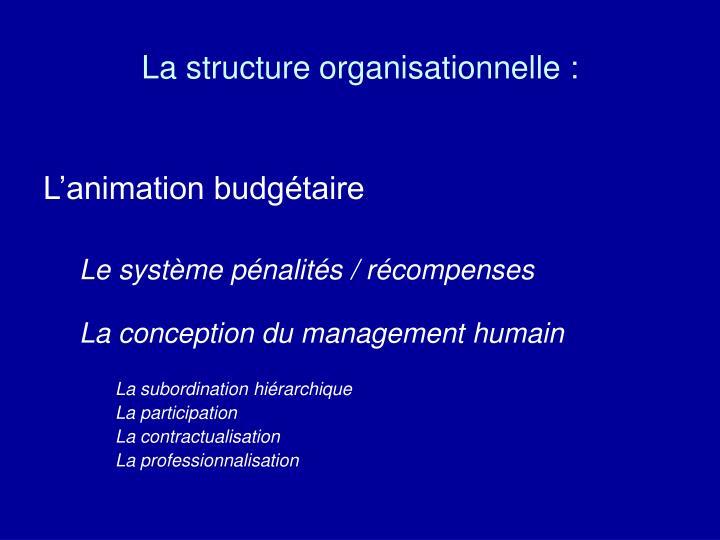 La structure organisationnelle :