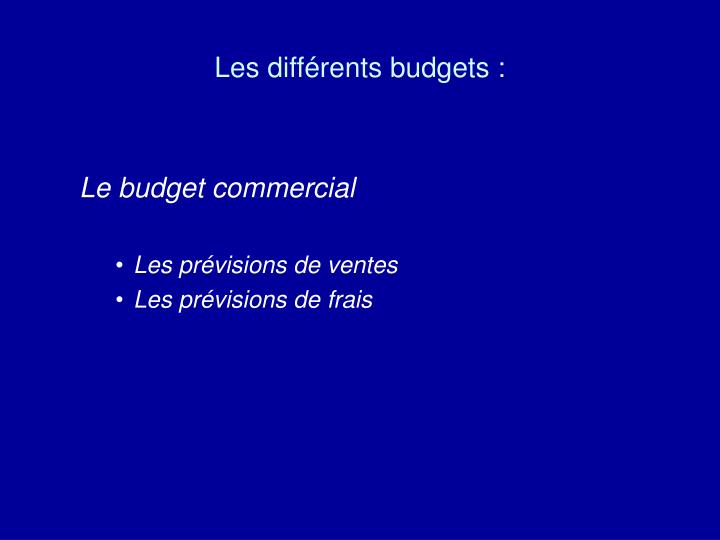 Les différents budgets :