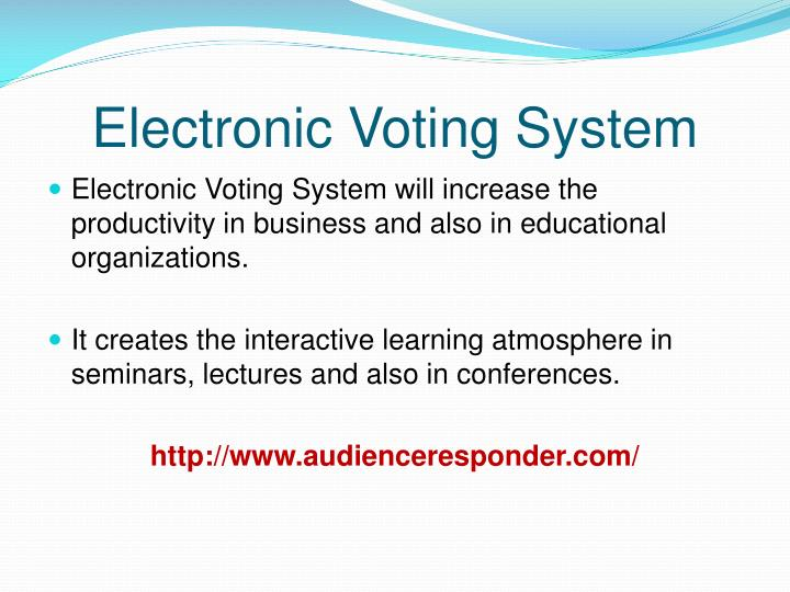 electronic voting systems essay Read this essay on electronic voting system come browse our large digital warehouse of free sample essays get the knowledge you need in order to.