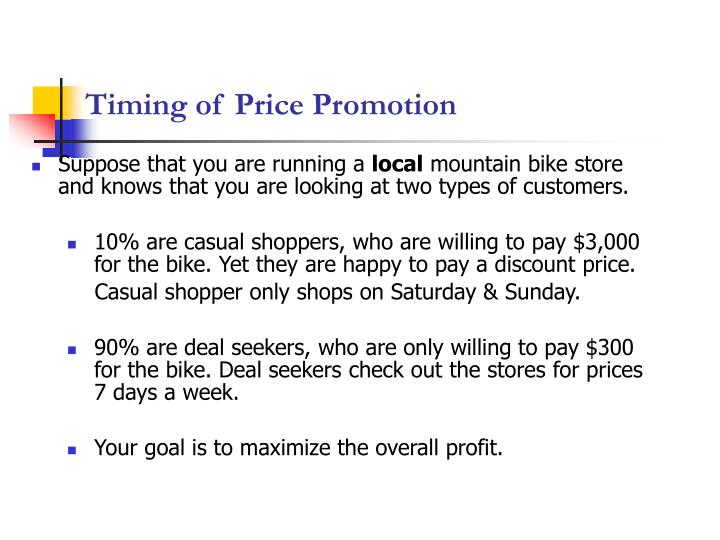 Timing of Price Promotion