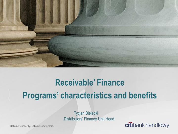 receivable finance programs characteristics and benefits n.