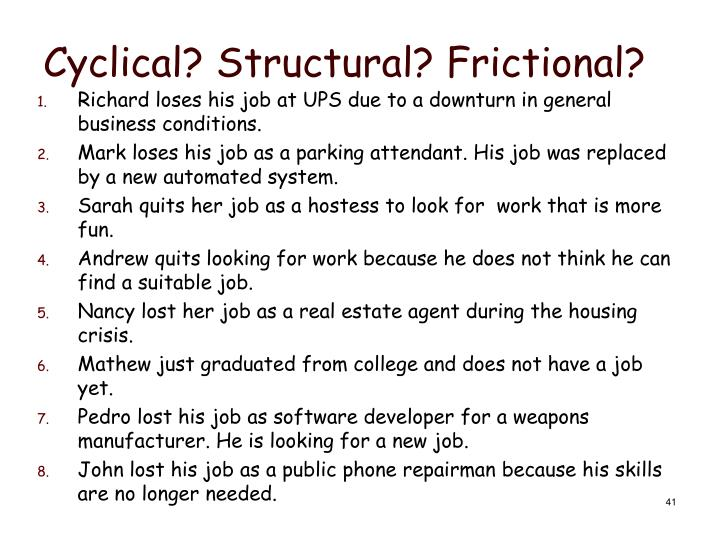 Cyclical? Structural? Frictional?