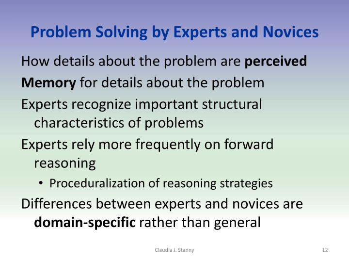Problem Solving by Experts and Novices