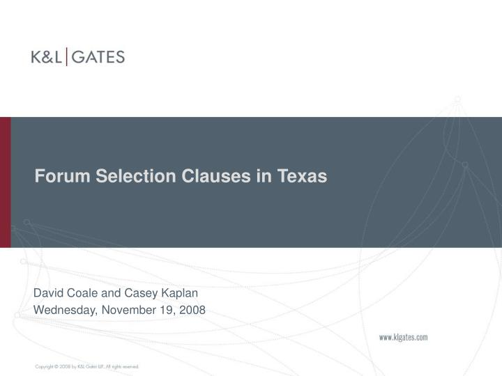 forum selection clauses in texas n.