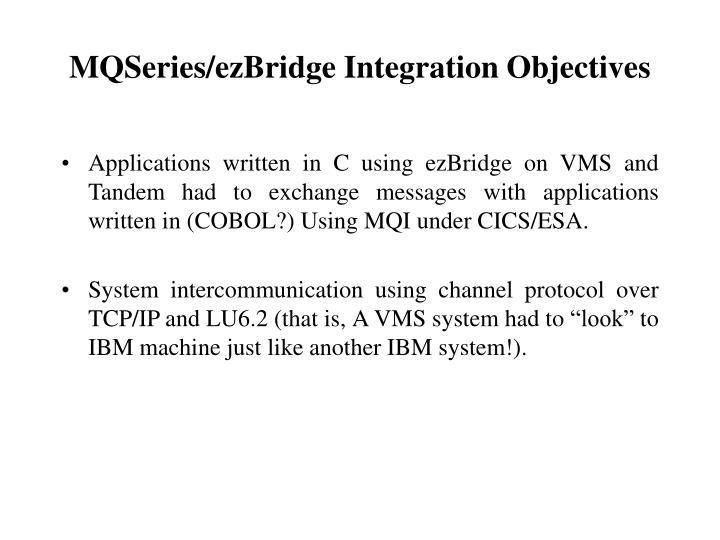 MQSeries/ezBridge Integration Objectives