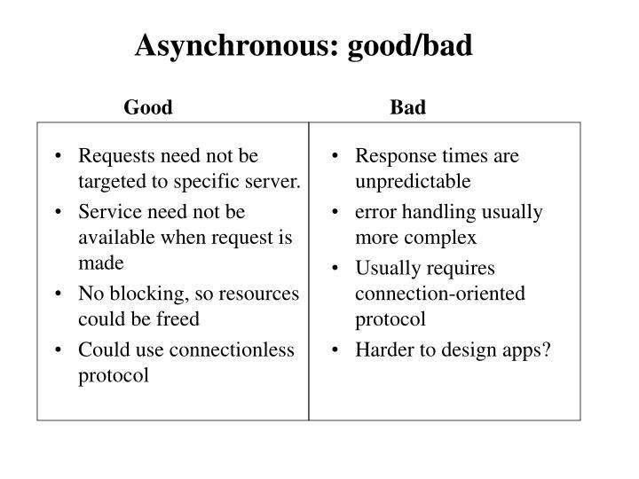 Asynchronous: good/bad
