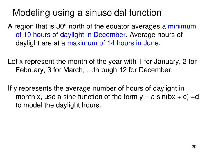 Modeling using a sinusoidal function