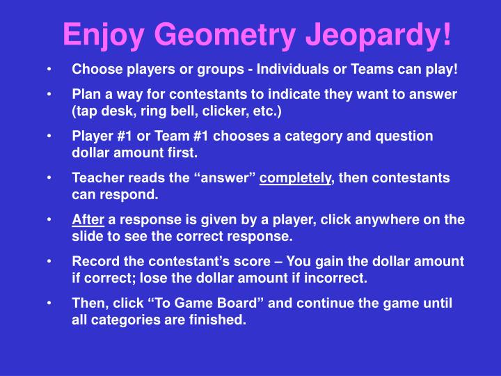 Enjoy Geometry Jeopardy!