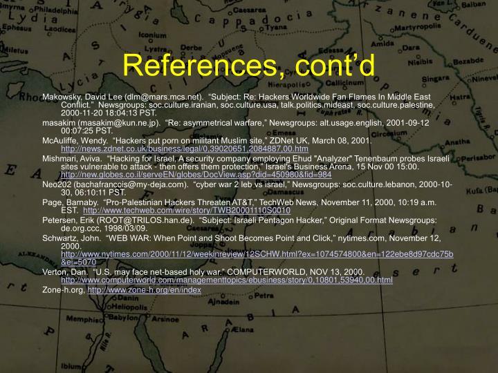 References, cont'd
