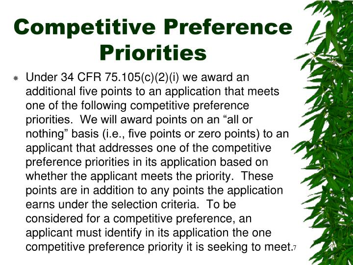 Competitive Preference Priorities