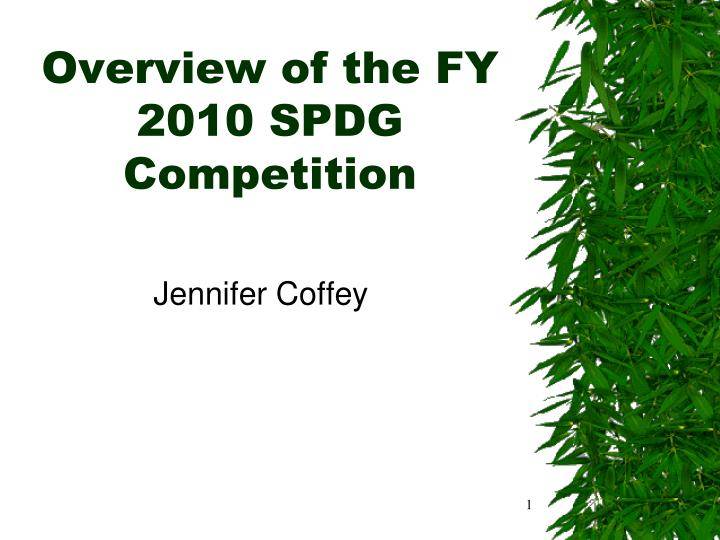 Overview of the fy 2010 spdg competition