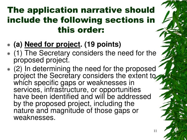 The application narrative should include the following sections in this order: