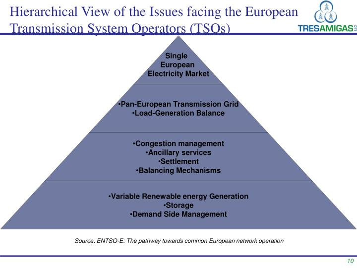 Hierarchical View of the Issues facing the European Transmission System Operators (TSOs)