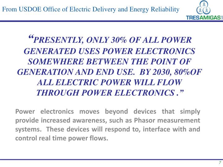 From USDOE Office of Electric Delivery and Energy Reliability