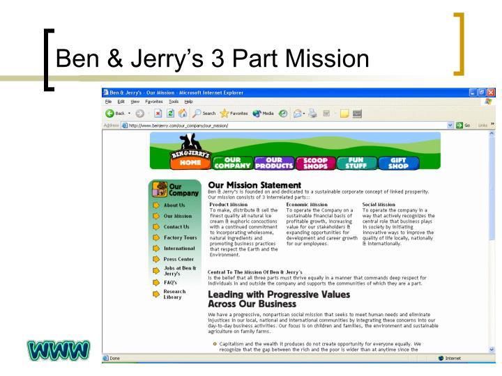 Ben & Jerry's 3 Part Mission