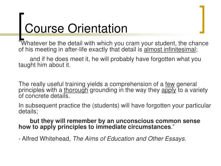 Course orientation