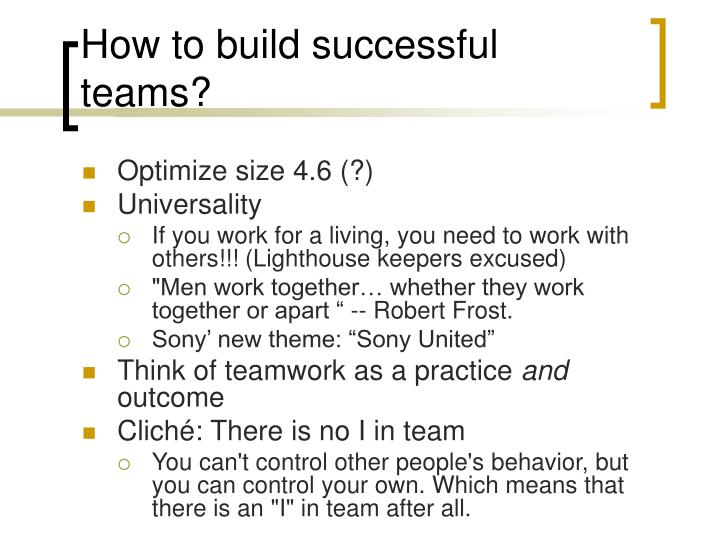 How to build successful teams?