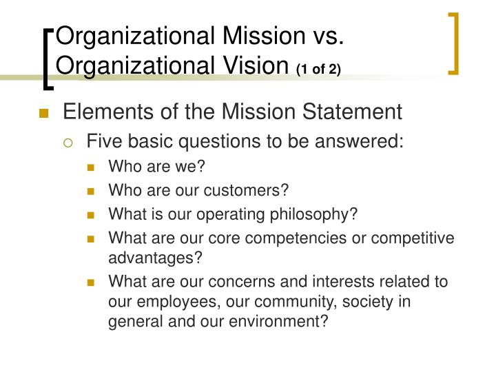 Elements of the Mission Statement