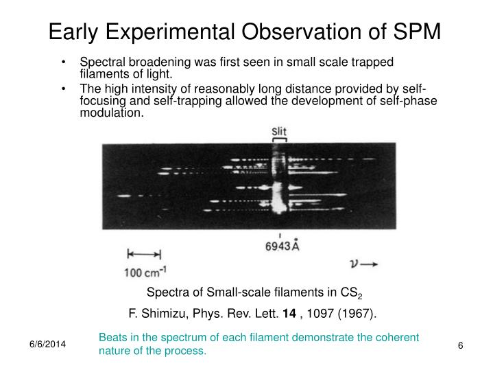 Early Experimental Observation of SPM