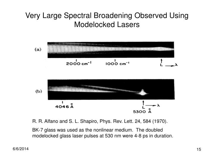 Very Large Spectral Broadening Observed Using Modelocked Lasers