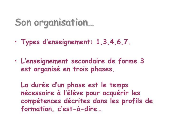 Son organisation…