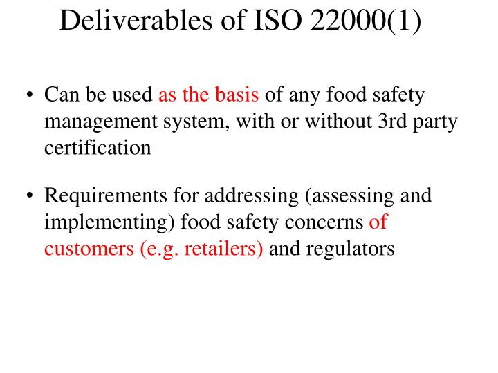 Deliverables of ISO 22000(1)