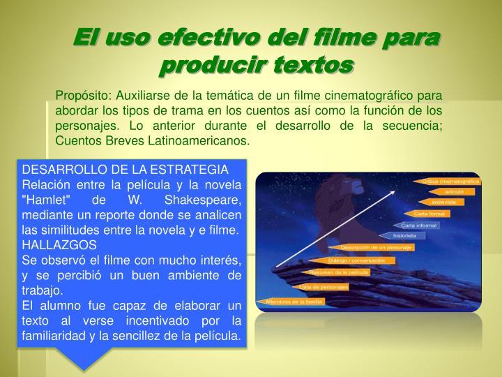 El uso efectivo del filme para producir textos