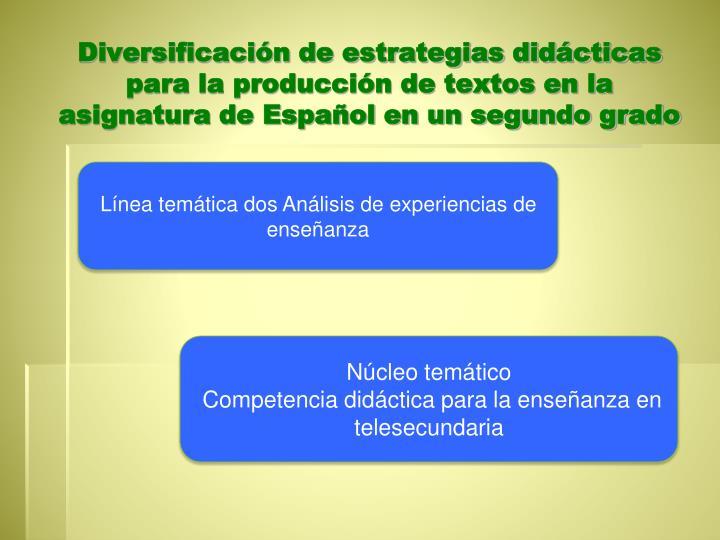 Diversificación de estrategias didácticas para la producción de textos en la asignatura de Españ...