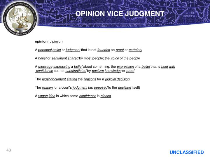 OPINION VICE JUDGMENT