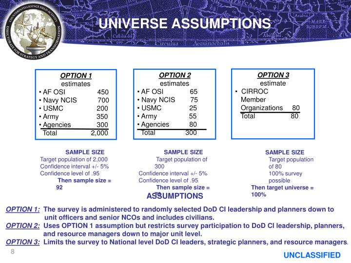 UNIVERSE ASSUMPTIONS