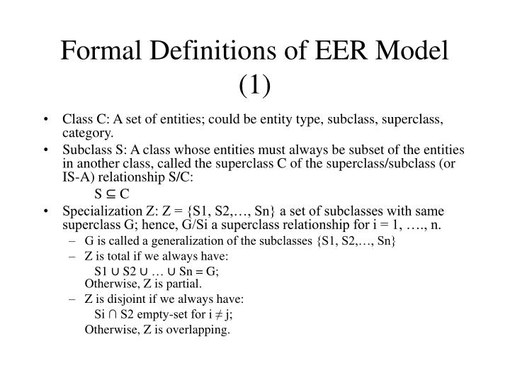 Formal Definitions of EER Model (1)